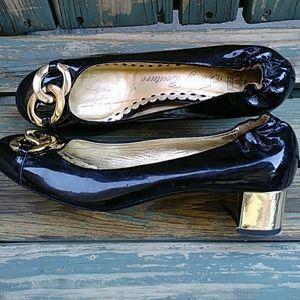 Juicy Couture Blavk and Gold Block Heel Pumps